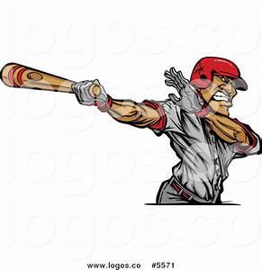 Royalty Free Vector of a Swinging Batting Baseball Player ...