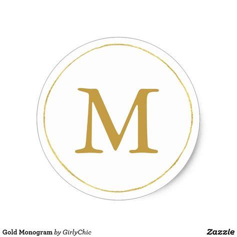 gold monogram classic  sticker zazzlecom gold monogram custom stickers create custom