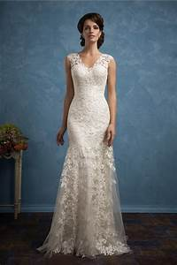 Beautiful sheath v neck vintage lace wedding dress with for V neck sheath wedding dress