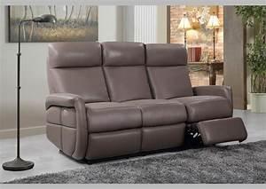 acheter votre canape 3 places en cuir taupe avec 2 relax With tapis exterieur avec canapé cuir taupe 3 places