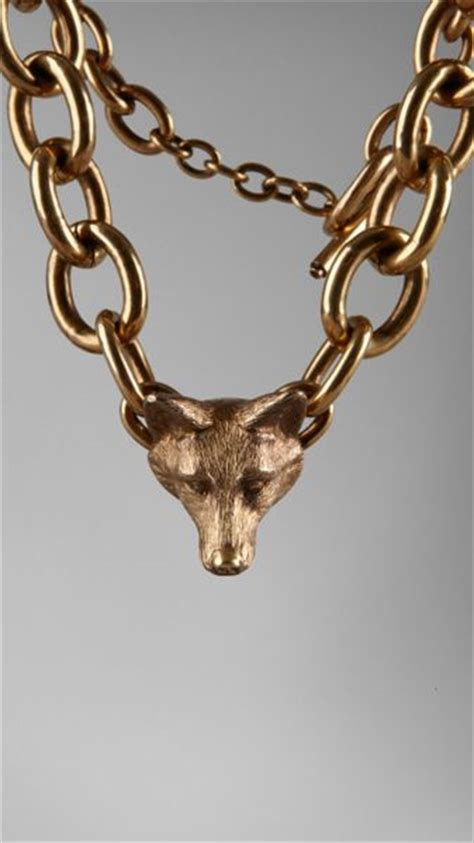 burberry fox detail necklace  gold antique gold lyst
