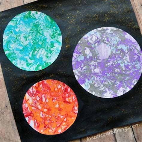 preschool space craft marbled planets 270 | marbeled planets art 5