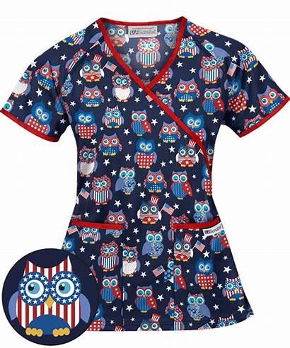 Scrubs Scrub Patriotic Uniformadvantage Owl Navy Uniform