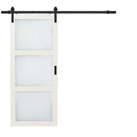 truporte 36 in x 84 in bright white solid rustic barn door with sliding door hardware kit