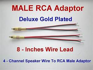 4 Channel Speaker Wire To Rca Gold Y Adapter Amp Receiver