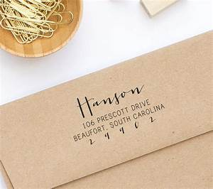 return address stamp wood mounted or self inking address With wedding invitations where to put return address