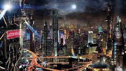 Future Japan Night Skyscrapers Lights Fantasy Background
