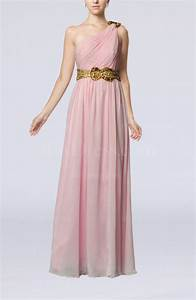 baby pink elegant one shoulder chiffon floor length sequin With mid length wedding guest dresses