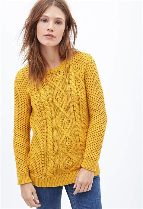 yellow cable knit sweater forever 21 cable knit fisherman sweater in yellow lyst