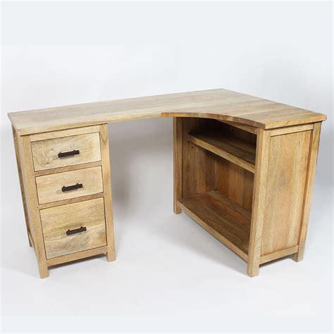 le de bureau en bois bureau bois massif en angle 3 tiroirs made in meubles