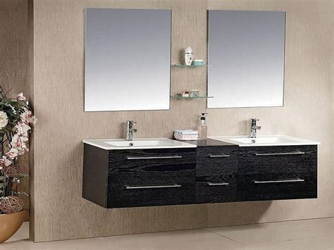 Double Black Hanging Bathroom Sink Cabinet, Bathroom Sinks