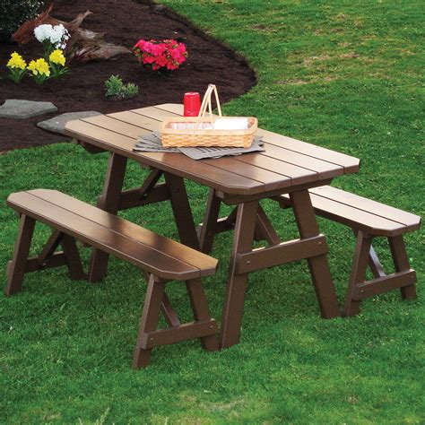 Traditional Benches by A L Furniture Yellow Pine Traditional Picnic Table With
