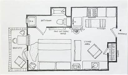 Apartment Studio Layout Layouts Drawing Plan Floor
