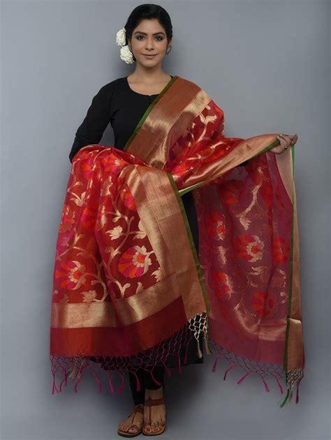 maroon mehendi kora silk handwoven banarasi dupatta