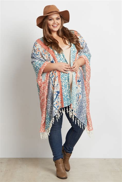 Multi Color Bohemian Leaf Tassel Plus Size Maternity Kimono