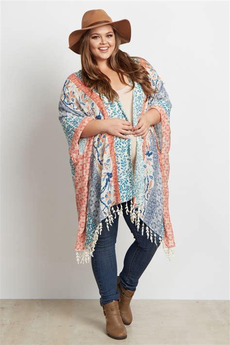 Multi Color Bohemian Leaf Tassel Plus Size Maternity Kimono