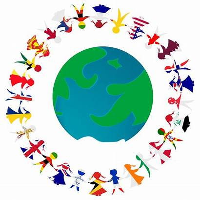 Hands Holding Earth Globe Flags Awareness Cultural