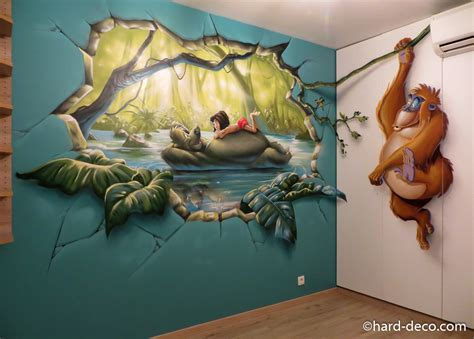 chambre wars decor fresque murale graffiti sur le livre de la jungle