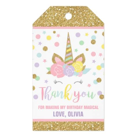 water bottle pack unicorn pink gold favor thank you tag zazzle com