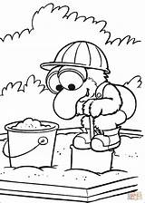 Coloring Pages Baby Playing Gonzo Sandbox Sand Muppet Babies Games Printable Silhouettes sketch template