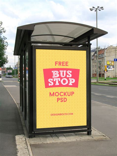 bus stop poster psd template 80 free outdoor advertisment branding mockup psd files