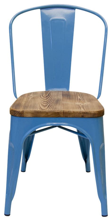 set of 2 bastille cafe stacking chair with wood seat sky