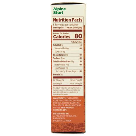 After brewing the coffee in small batches, a proprietary process is used to extract the coffee to its fullest flavor. ALPINE START Dirty Chai Latte Instant Coffee - Eastern Mountain Sports