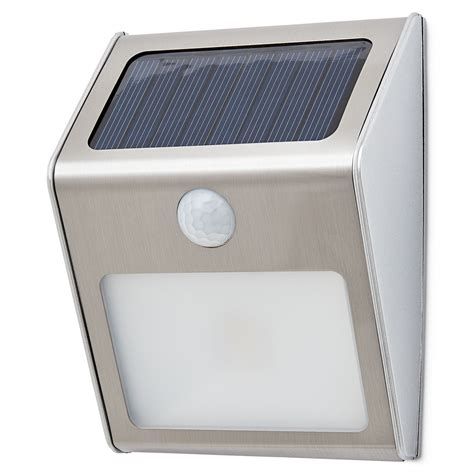brushed chrome rectangular solar powered led outdoor wall