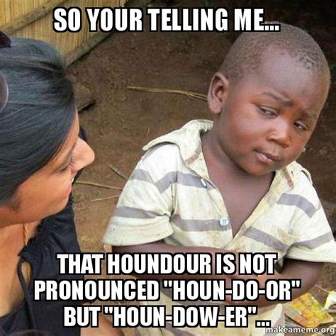 Your Telling Me Meme - so your telling me that houndour is not pronounced quot houn do or quot but quot houn dow er