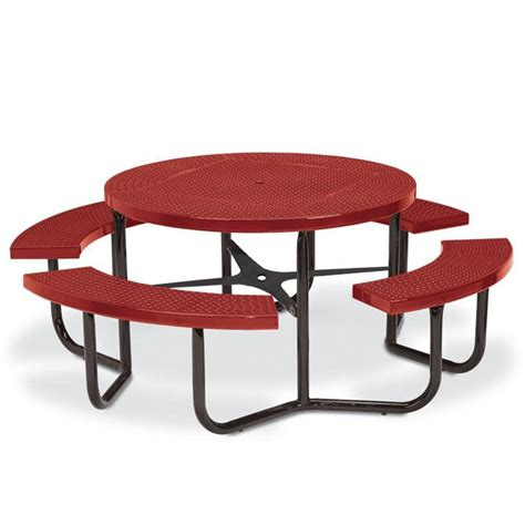steel picnic table frame round perforated steel table portable frame picnic