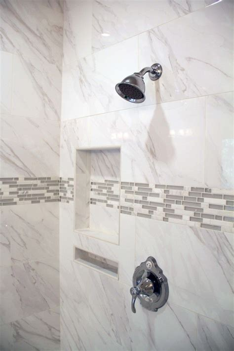 soak gray listello   double shower niche nailed