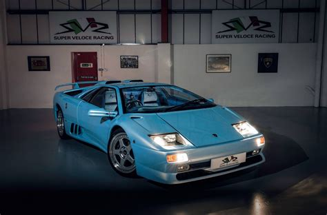 ice blue lamborghini diablo sv   hairy chested supercar wed love