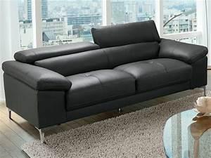 canape 3 ou 2 places cuir blanc ou anthracite solange With tapis ethnique avec canapé cuir ou simili