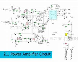 Circuit Schematic Of 2 1 Power Amplifier Using Tda7377