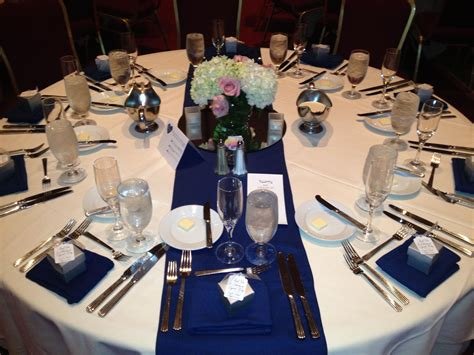 White Linen With Navy Blue Table Runner And Napkins My