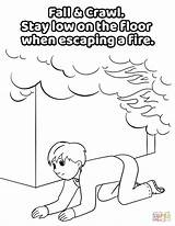 Coloring Crawl Under Smoke Fire Low Safety Printable Fall Drawing Crafts London sketch template