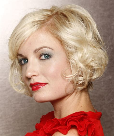 short wavy formal layered bob hairstyle  side swept