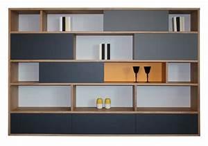 Bibliothèque Murale Bois : composition murale biblioth que bas 2 tiroirs milieu 4 ~ Premium-room.com Idées de Décoration