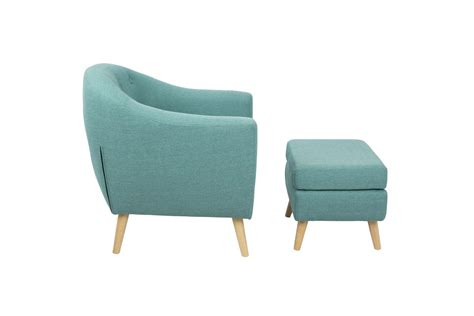 rockwell mid century modern chair with ottoman in teal by