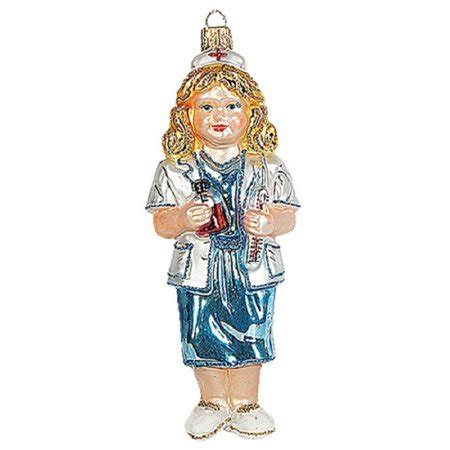 female nurse polish glass christmas ornament