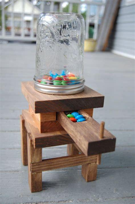 handmade wooden mason jar candy dispenser