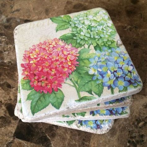 flowers tile coasters hydrangeas  natural stone tiles