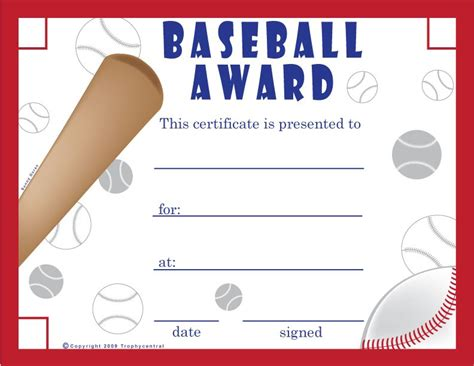 printable baseball certificates baseball
