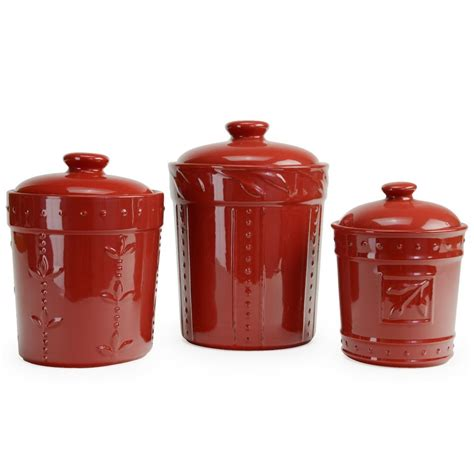 ceramic canisters for the kitchen signature housewares 3 sorrento ruby ceramic