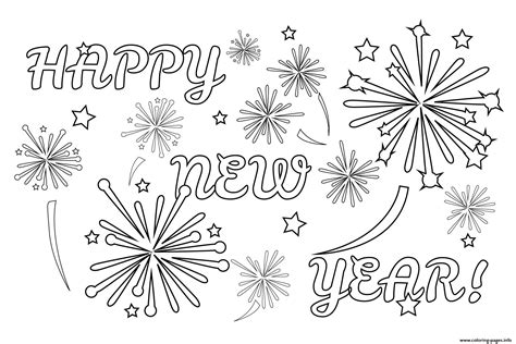 Kleurplaat Happy New Year by Happy New Year Fireworks Coloring Pages Printable