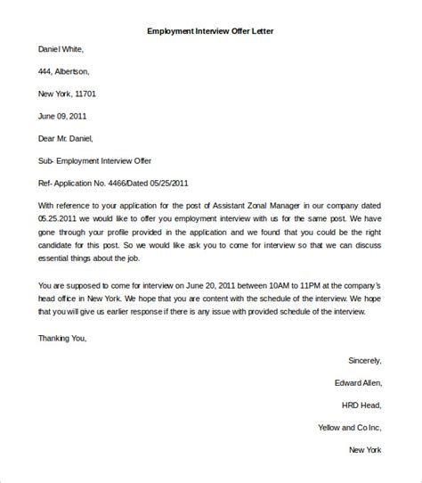 Offer Of Employment Letter Template Free by Free Employment Letter Template 28 Free Word Pdf