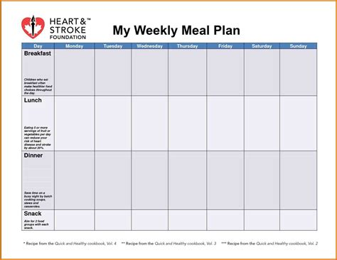 weekly meal planner template excel