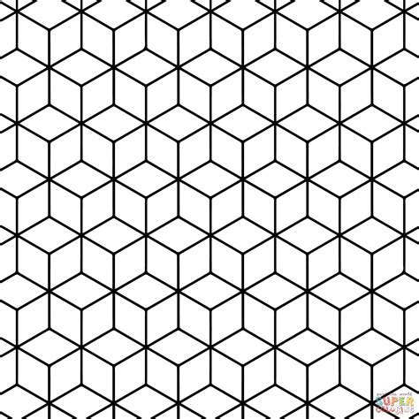 pattern coloring pages geometric tessellation with rhombus pattern coloring page