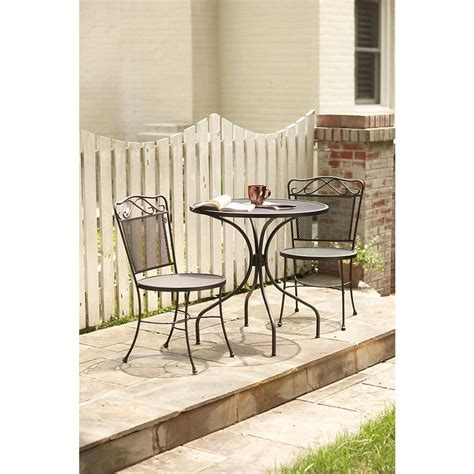 wrought iron black 3 patio bistro set w3929 3pc bk