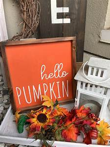 Hello, Pumpkin, Wood, Sign, Wooden, Hanging, Farmhouse, Fall, Decor, Small, Fall, Sign, Thanksgiving, And